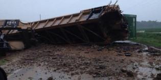 Train Cars Blown off Track near Weiner