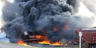 Train carrying dangerous goods derails in central Saskatchewan, catches fire