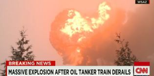 Explosion and oil spill after train derails in West Virginia
