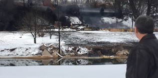 CSX apologizes for derailment as fire still burns