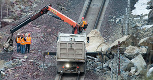 Truck-sized boulders fall on BNSF tracks