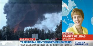 CN train carrying crude derails, catches fire in northern Ontario