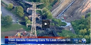 Cleanup underway after freight train carrying crude oil derails in Plainfield, IL