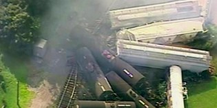 32 train cars derail in Bedford County; at least 2 catch fire